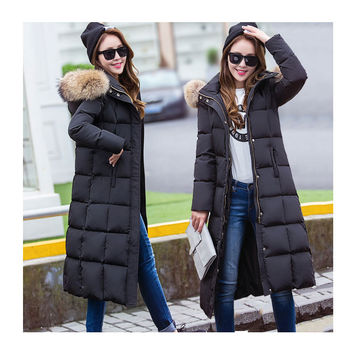 New Women's Down Coat Winter 2016 Fashion Solid Color Long-sleeve Fur Collar Thick Slim X-Long Down Jacket Winter coat Female