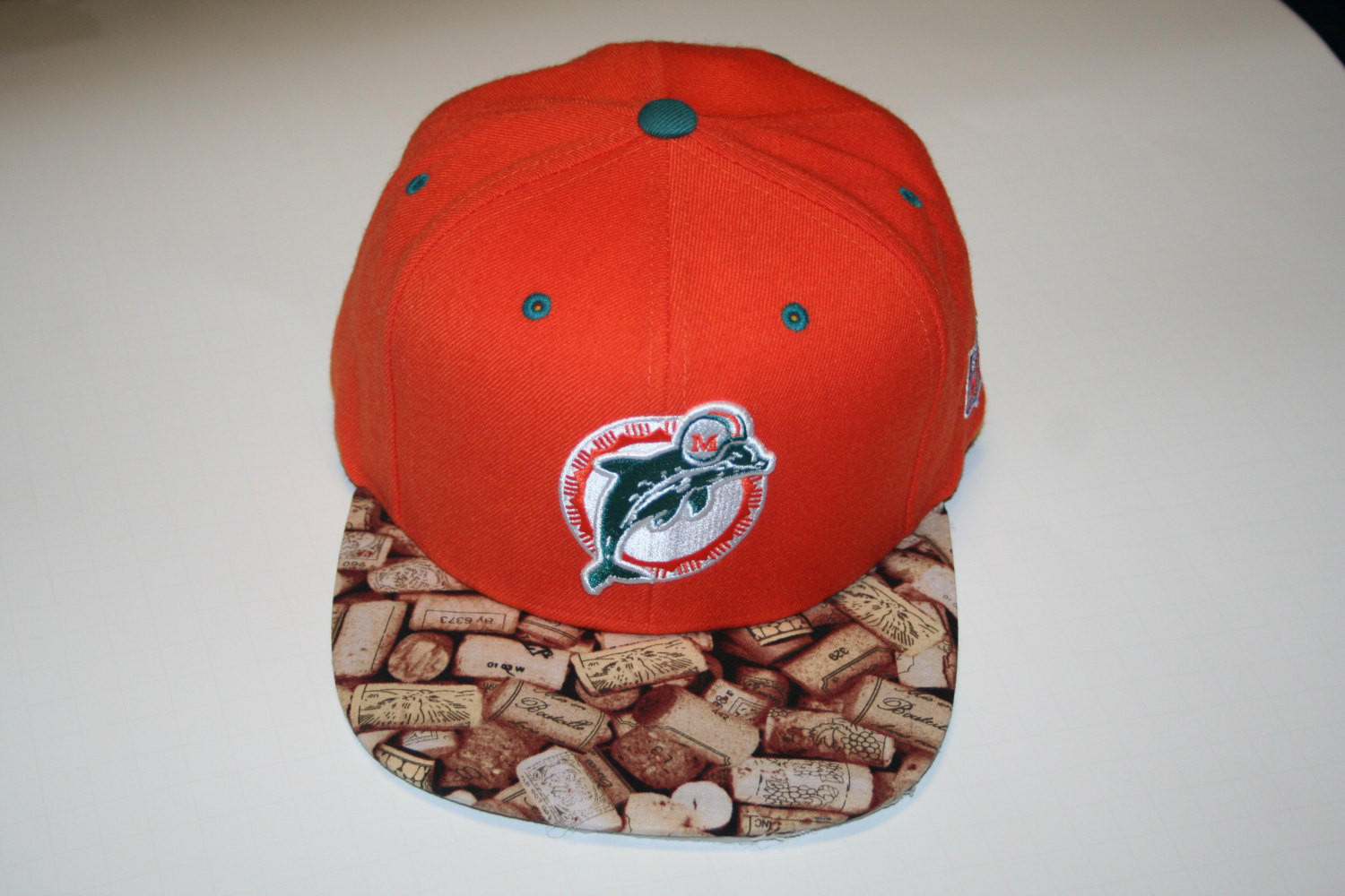 Miami Dolphins NFL Custom Snapback Hat Cap Mitchell and Ness Brim lebron  cork 22f403a84