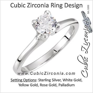 Cubic Zirconia Engagement Ring- The Lauralie (Round Cut Simple 4-prong Solitaire)