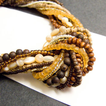 Multi Strand Beaded Necklace Multi Strand Knotted by AnandaBijoux