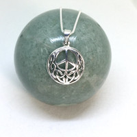 Peace necklace sterling silver peace celtic knot pendant round filigree celtic peace symbol necklace solid 925 silver