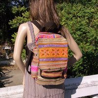 Hill Tribe Backpack Book Bag Handmade HMONG Vintage