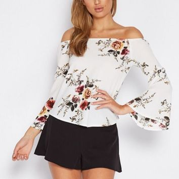 Fashion women flower print long sleeve sleeveless loose top (3color)-1