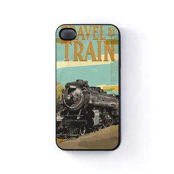 Travel By Train Black Hard Plastic Case for iPhone 4/4s by Nick Greenaway