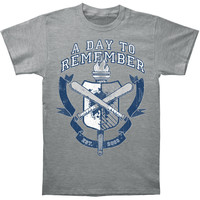 A Day To Remember Men's  University (Medium Heather Grey) T-shirt Grey
