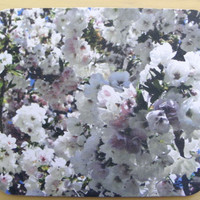 "FLORAL Mousepad, WHITE Mouse Pad, Office Decor, Desk Accessory, 7.75"" x 9.25"""