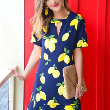 Lana Flounce Dress, Navy