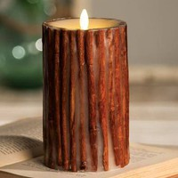 "7"" Cinnamon Stick Embedded Pillar Candle - Unscented"
