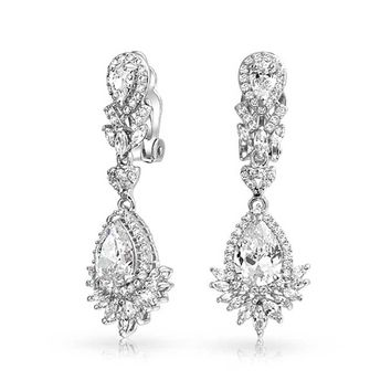 CZ Fashion Prom Statement Dangle Clip On Earrings Silver Plated