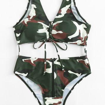 Lace Up Zip Fly Connected Two Piece Swimsuit