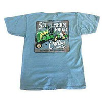 Youth Green Tractor Pocket Tee in Ice Blue by Southern Fried Cotton