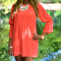 Melbourne Neon Coral Bell Sleeve Dress