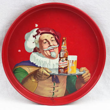 Vintage 1960s Falstaff Beer Tray, Serving Tray