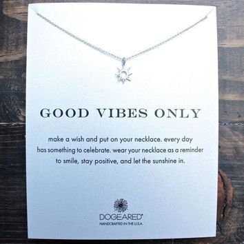 LMFHT3 Dogeared 'Reminder - Good Vibes Only' Dainty Necklace In Sterling Silver