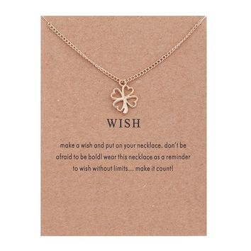 Hollow Clover Card Alloy Clavicle Pendant Necklace  171208