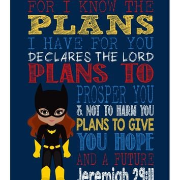 African American Batgirl Superhero Christian Nursery Decor Art Print - For I Know The Plans I Have For You - Jeremiah 29:11