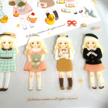blonde little girl sticker Kawaii dress up doll adorable doll paper doll sticker cute sweet girl label little girl pet kids princess party