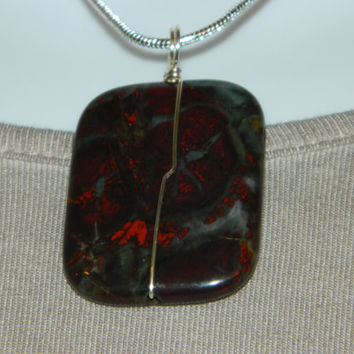 90ct. Mixed Black and Red Stone, Semi Precious, Agate, Pendant, Necklace, Rectangle, Natural Stone, 112-15