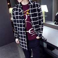 Checkered Oversize Me's Blazer Wool Coat