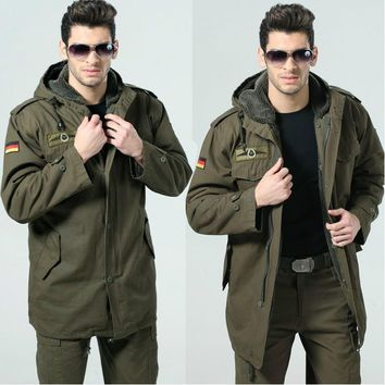 German Army Outdoors fashion Casual Military Jacket men's classic windproof thermal Jacket  detachable bladder camel hair coat
