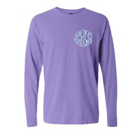 Monogrammed Comfort Colors Long Sleeve Tshirt