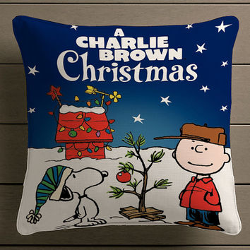 Christmas charlie brown and snoopy Movies Quote Square Pillow Case Custom Zippered Pillow Case one side and two side