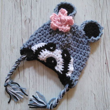 Raccoon Hat baby Raccoon Hat Crochet Raccoon Hat Newborn  Raccoon Animal Hat Crochet baby Hat   Photo Prop Raccoon Costume Beanie Outfit