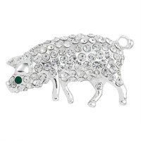 Pig Jeweled Silver Pin