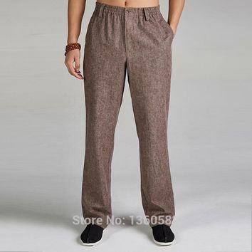 High-quality Khaki Traditional Chinese style Men's Cotton Linen Kung Fu Trousers Martial Arts Pants Size M L XL XXL XXXL X508