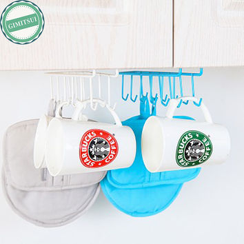 2Pc 12 Hooks Iron Hanging Pot Holder Pan Mug Cup Hanger Kitchen Storage Utility Cookware Hook Rack Holder Towel Hanger Organizer