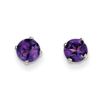 14k White Gold 5mm Amethyst Stud Earrings