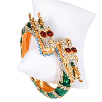 KJL Dragon Bracelet, Kenneth Jay Lane, Rhinestone, Colorful, Rhinestones, Designer Jewelry, Vintage, Book Piece