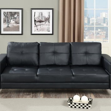 Poundex F6830 Nathaniel iii collection black faux leather upholstered futon sofa bed with arms