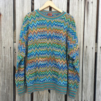 Rare Vintage Missoni Men's Sweater - Chevron Zig Zag - Orange Label - Made in Italy