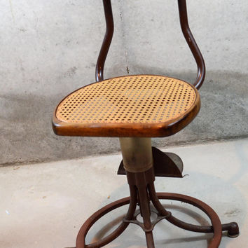RARE Vintage Industrial Switchboard Operator Swivel Chair, 1940's Western Electric Stool With Bakelite Headrest