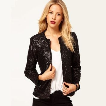 New Women Casual Basic Autumn Winter Sequins Top blusas Blazer Fashion Coat Jacket Long Sleeve Large Size