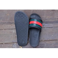Hot Sale Gucci Woman Men Black Fashion Casual Sandals Slipper Shoes