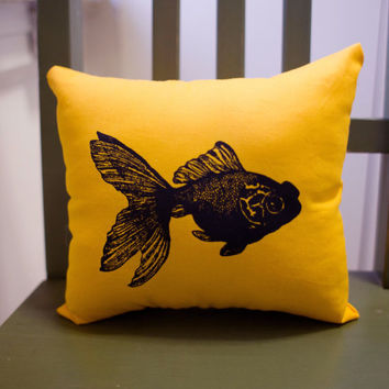 Koi Fish Screen Print Pillow bright yellow by brooklynglobal