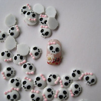 RC18-4 30pcs Cute Nail Art Pink Bow White Skull Head Shape Decoration DIY Nail Art Supply