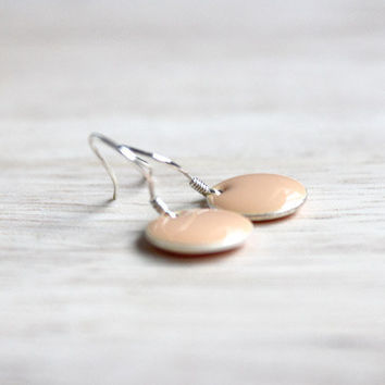 nude enamel dangle earrings // tiny sterling silver earring - minimalist jewelry for women, girls