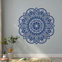 Wall Decal Vinyl Sticker Mandala Ornament Lotus Flower Yoga Indian Decor Meditation Art Bedroom Yoga Studio Boho Wall Art Home Decor C117