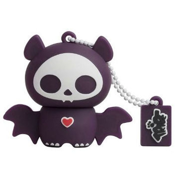 Tribe FD015401 Skelanimals Pendrive Figure 8 GB Funny USB Flash Drive 2.0 Memory Stick Data Storage, Keyholder Key Ring, Diego the Bat, Black