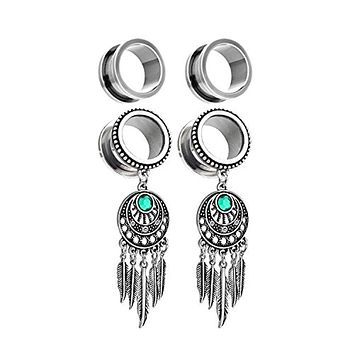 BodyJ4You 4PC Surgical Steel Screw-Fit Gauge Tunnel Tribal Dreamcatcher Dangle Plug Stretcher 4G-16mm