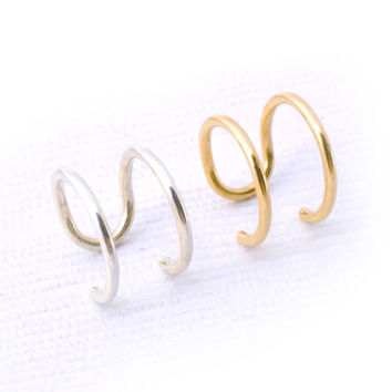 Set of 2 Ear Cuffs / Double Wire Ear Cuff / Dainty Jewelry / Sterling Silver and 14k Gold Filled / Modern / Minimal / Cartilage Earring