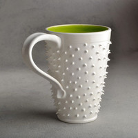 Spiky Mug Made To Order White and Neon Green Dangerously Spiky Travel Coffee Mug Cup by Symmetrical Pottery