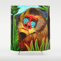 Henri Rousseau Mandrill In The Jungle Shower Curtain by Art Gallery