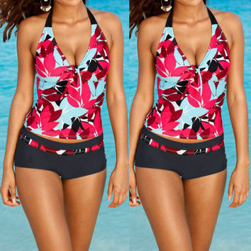 Plus Size Sexy Women Print Tankini Swimsuit Push Up Bikini Ladies Swimwear Beachwear Bikini Set