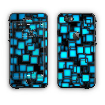 The Neon Blue Abstract Cubes Apple iPhone 6 LifeProof Nuud Case Skin Set
