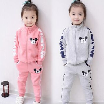 2017 baby girl boy clothing sets Autumn children's clothing Mickey baby boys tracksuits sets 100% cotton sweatshirts+trousers