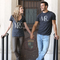 MRS + MR Couples Engagement T-Shirts - (Womens Only) Sparkling Glitter Shirt
